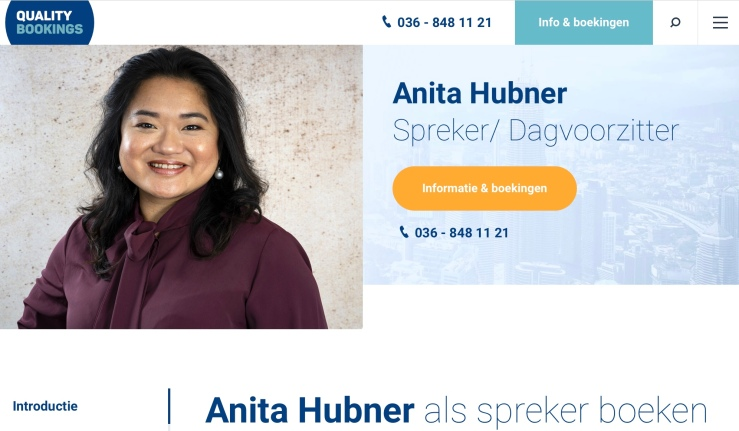 screenshot Anita Hubner - spreker bij Quality Bookings